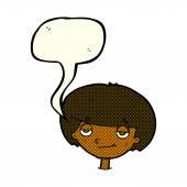 Cartoon smug looking boy with speech bubble — Stock Vector
