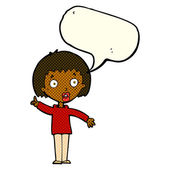 Cartoon woman explaining her point with speech bubble — Stock Vector
