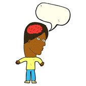 Cartoon man with brain symbol with speech bubble — Stock Vector