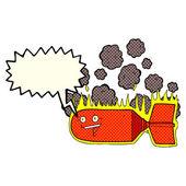 Cartoon falling bomb with speech bubble — Stock Vector
