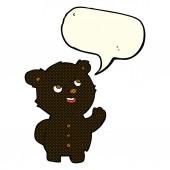 Мультфильм милый черный Медвежонок с речи пузырь — Cтоковый вектор