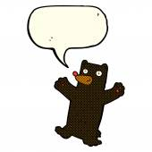 Cartoon black bear with speech bubble — Stock Vector