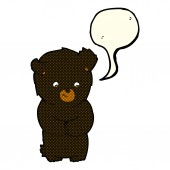 Cute cartoon black bear with speech bubble — Stock Vector