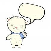 Cartoon cute polar bear with speech bubble — Stock Vector