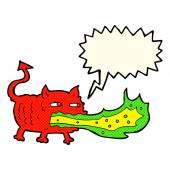 Cartoon fire breathing imp with speech bubble — Stockvector