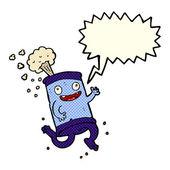 Cartoon crazy soda can with speech bubble — Stock Vector