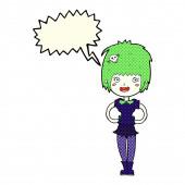 Chica vampiro feliz de dibujos animados con burbujas de discurso — Vector de stock