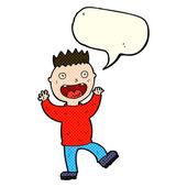 Loco feliz de dibujos animados con burbujas de discurso — Vector de stock