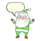 Cartoon happy santa claus with speech bubble — Stock Vector