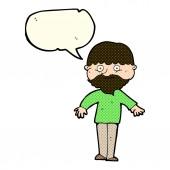Hombre feliz de dibujos animados con la burbuja del discurso — Vector de stock