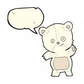 Cute polar bear cartoon with speech bubble — Stock Vector