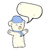 Cartoon cute polar bear in hat and scarf with speech bubble — Stock Vector