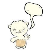 Cartoon waving polar bear cub with speech bubble — Stock Vector