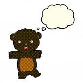 Cartoon shocked black bear cub with speech bubble — Stock Vector