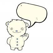 Kreslený mává lední medvěd s balónem — Stock vektor