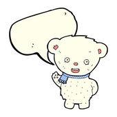 Kreslený lední medvěd mává s balónem — Stock vektor