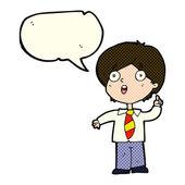 Cartoon schoolboy answering question with speech bubble — Stock Vector