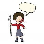 Cartoon woman with spear sticking out tongue with speech bubble — Stock Vector