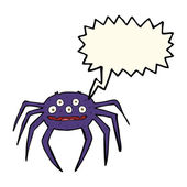 Cartoon halloween spider with speech bubble — Stock Vector