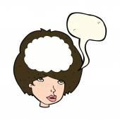 Cartoon empty headed woman with speech bubble — Stock Vector