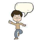 Cartoon dancing man with speech bubble — Stock Vector