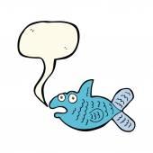 Cartoon fish with speech bubble — Stock Vector