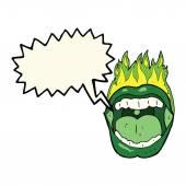 Cartoon halloween mouth with speech bubble — Stock Vector