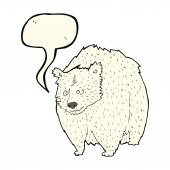 Huge polar bear cartoon with speech bubble — Stock Vector
