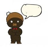 Cartoon little black bear with speech bubble — Stock Vector