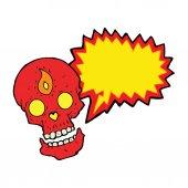 Crânio de místico dos desenhos animados com bolha do discurso — Vetor de Stock