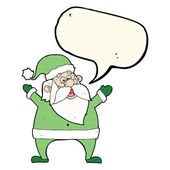 Jolly santa cartoon with speech bubble — Stock Vector