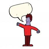 Cartoon-glücklich-vampir mit sprechblase — Stockvektor