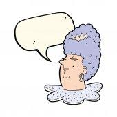 Cartoon koningin hoofd met tekstballon — Stockvector