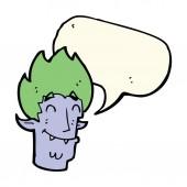 Cartoon glücklich vampir kopf mit sprechblase — Stockvektor