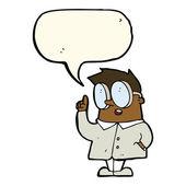 Cartoon scientist with speech bubble — Stock Vector