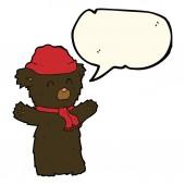 Cartoon cute black bear with speech bubble — Stock Vector