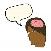 Cartoon head with brain symbol with speech bubble — Stock Vector