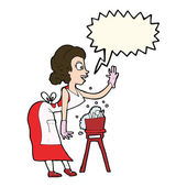 Cartoon housewife washing up with speech bubble — Stock Vector