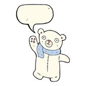 Cute cartoon polar teddy bear with speech bubble — Stock Vector