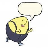 Cartoon humpty dumpty egg character with speech bubble — Stock Vector