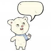 Cartoon polar bear wearing scarf with speech bubble — Stock Vector
