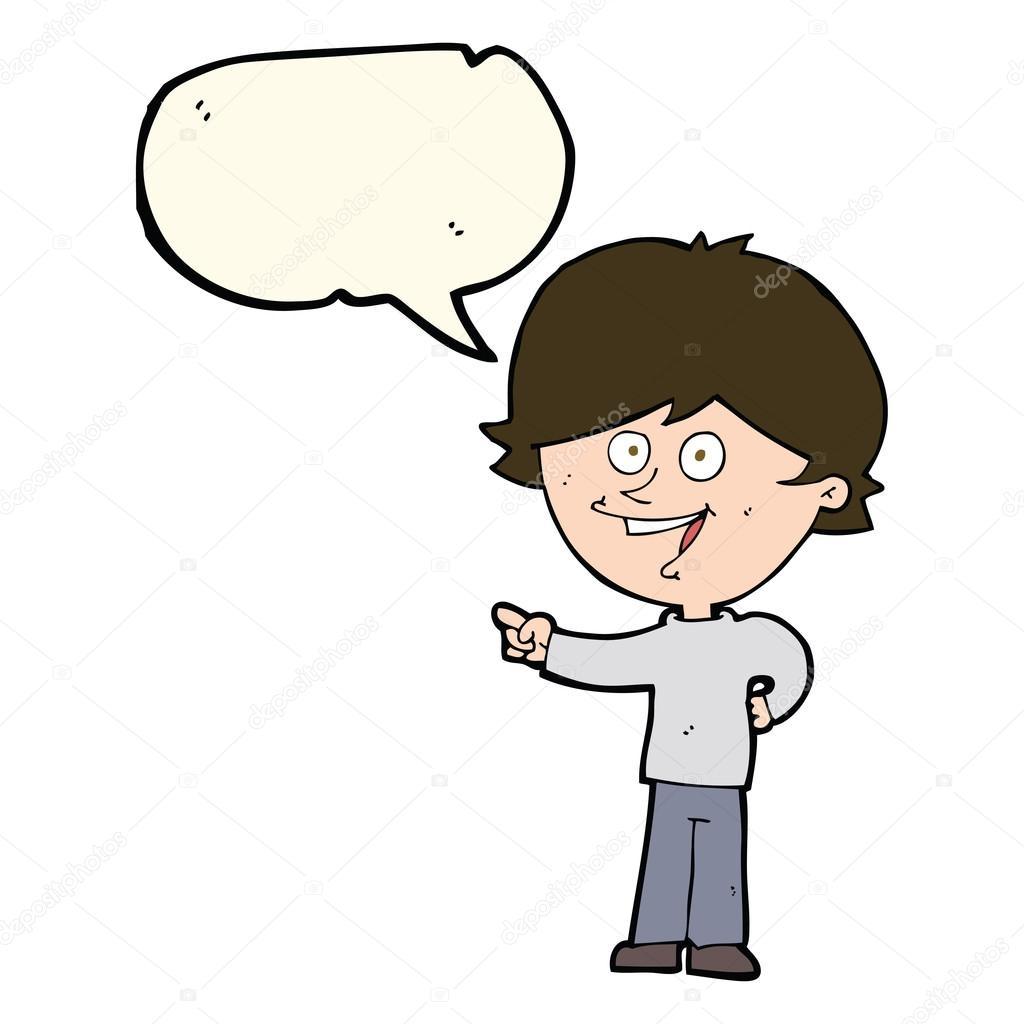 卡通男孩大笑着指着与讲话泡泡
