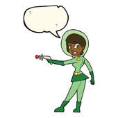 Cartoon sci fi girl with speech bubble — Stock Vector