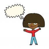 Cartoon smug woman with speech bubble — Stok Vektör