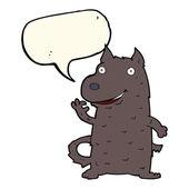 Cartoon happy dog with speech bubble — Stock Vector