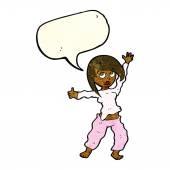 Cartoon rädd kvinna med pratbubblan — Stockvektor