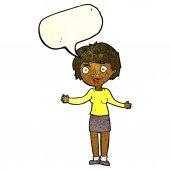Desenhos animados mulher confusa com bolha do discurso — Vetor de Stock