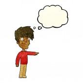 Hombre feliz de dibujos animados apuntando con burbujas de discurso — Vector de stock