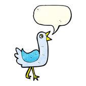 Pájaro de dibujos animados con burbuja de discurso — Vector de stock
