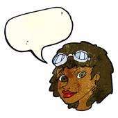 Femme heureux de dessin animé portant aviateur lunettes avec bulle de dialogue — Vecteur